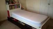 Ikea Bed with Mattress and Book case Headboard